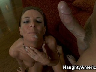 Super hot Sara Bricks gets a warm load of cum shot in her face hole